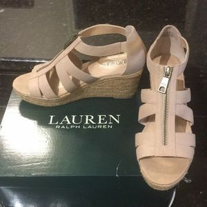 ✨Like-New!✨Ralph Lauren beige linen wedges!